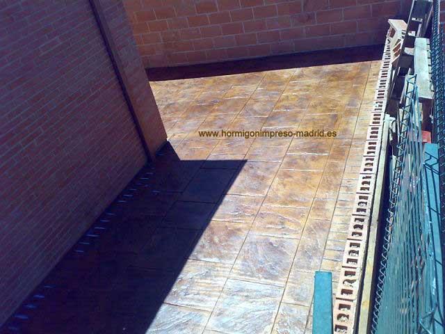 Hormigón impreso Leganes Madrid patio