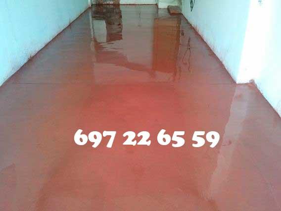 Hormigón pulido Madrid color Rojo garaje de vivienda unifamiliar